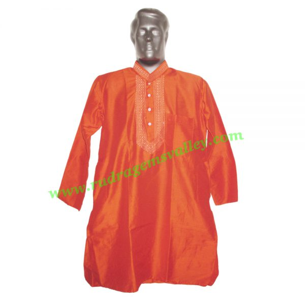 Cotton full sleeve mens kurta, 38 to 40 inches long, available in many chest sizes. Weight approx 200 grams, pack of 1 piece.