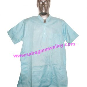 Cotton mix half sleeve mens short kurta, 28 to 30 inches long, available in many chest sizes, weight approx 150 grams, 3 pockets. Pack of 1 piece.