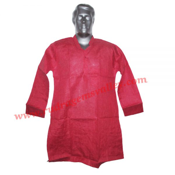 Cotton mix full sleeve mens long kurta, 38 to 40 inches long, available in many chest sizes, weight approx 200 grams, 3 pockets. Pack of 1 piece.