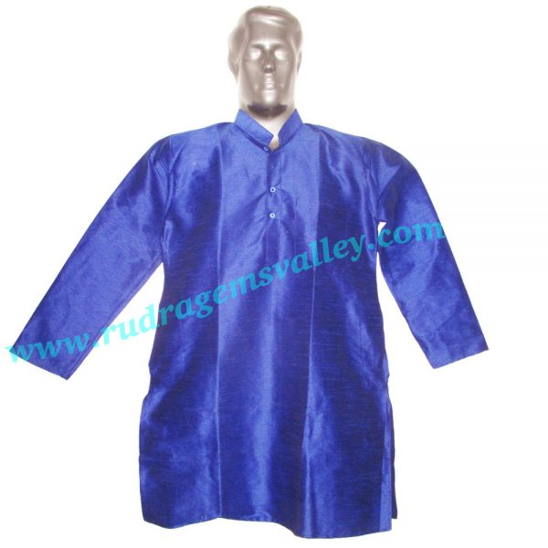 Indian silk full sleeve mens kurta, 38 to 40 inches long, available in many chest sizes, weight approx 200 grams, 3 pockets. Pack of 1 piece.