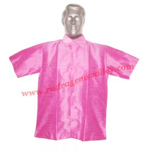 Indian silk half sleeve mens shirt, 28 inch long, available in many chest sizes, weight approx 150 grams. Pack of 1 piece.