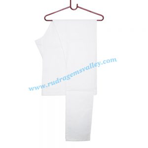 White cotton chudidar pyjama-pajama with twill tape. Weight approx 100 grams, pack of 1 piece.