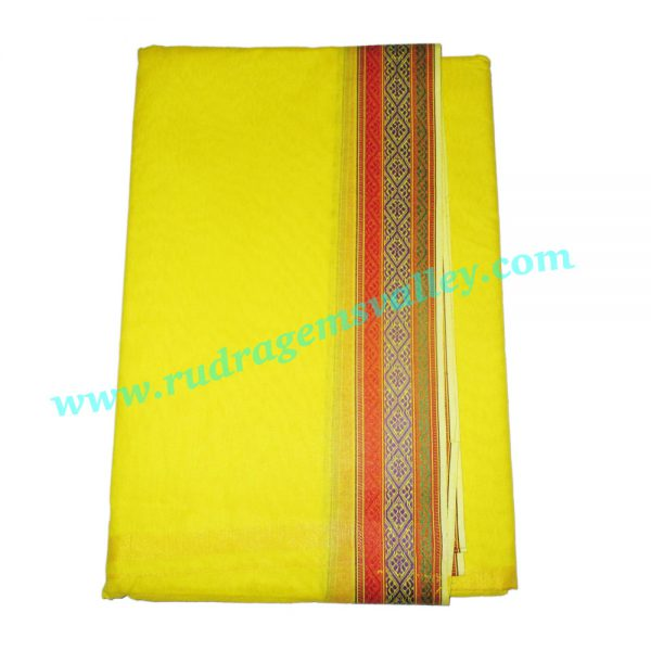 Pure cotton Indian traditional dhoti, 4.5 meter or 5 guz long plain dhoty, with border multi color cotton dhoti-yellow with matching dupatta (angavastram, uttariya, pardani, gamachha). Weight approx 150 grams, pack of 1 set.