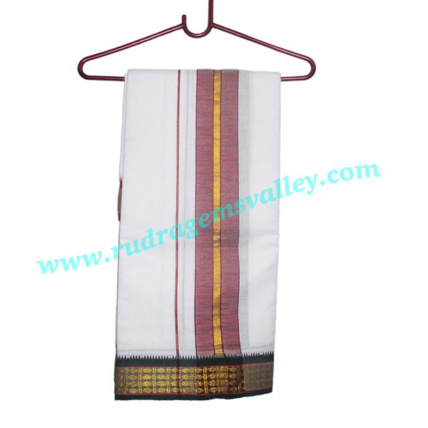 Pure cotton Indian traditional dhoti, 9x5 plain dhoty, with wide border white cotton dhoti with matching dupatta (angavastram, uttariya, pardani, gamachha, kandua). Weight approx 200 grams, pack of 1 set.