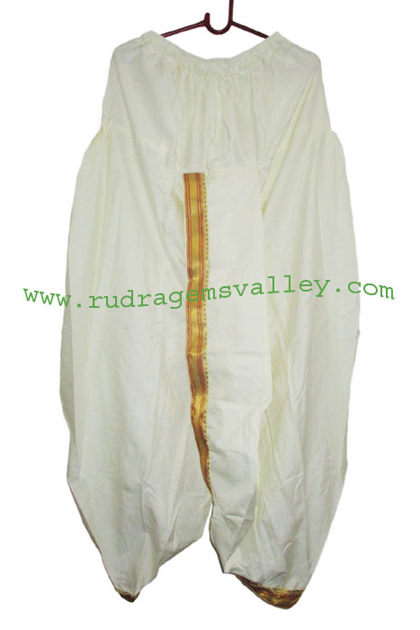 Cotton mix Indian traditional readymade dhoti, thin border white cotton dhoti. Weight approx 100 grams, pack of 1 piece.