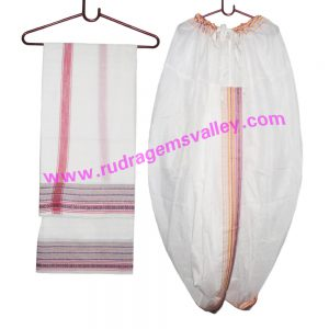 Cotton mix Indian traditional readymade dhoti, wide border colorfull cotton-mixed dhoti with matching angavastram. Weight approx 150 grams, pack of 1 piece.