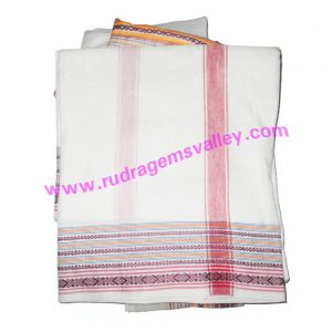 Cotton mix Indian traditional plain dhoti, 4.5 meter or 5 guz long, wide border colorfull cotton-mixed dhoti with matching angavastram. Weight approx 160 grams, pack of 1 piece.