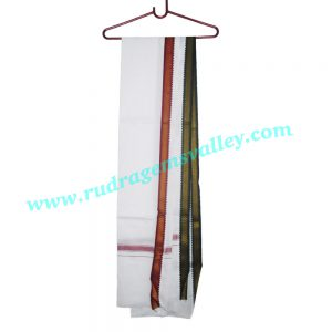 Pure cotton Indian traditional angavastram (gamachha), 1.5 meter long plain cotton towel thin border. Weight approx 80 grams, pack of 1 piece.