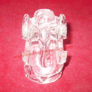 Sphatik crystal Ganesha Idol, prayer accessories, Belgium shphatik shivalingam, weight approx 209 grams, pack of 1 piece.