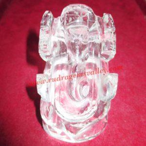 Sphatik crystal Ganesha Idol, prayer accessories, Belgium shphatik shivalingam, weight approx 60 grams, pack of 1 piece.