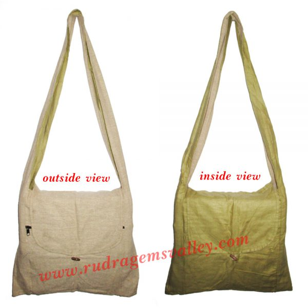 Handmade Indian khadi bags with zip and button, size 39x36 cm with 100 cm long strap, can be used both sides as the zip and buttons are provided both the sides as per picture, weight 150 grams, pack of 5 assorted pcs.