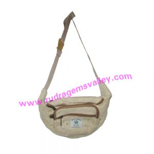 Pure Hemp Bags, 8.5x9 inch hemp bags with fine quality 4 zipper pockets, waist bag user friendly adjustable long tape hemp bags, weight approx 150 grams.