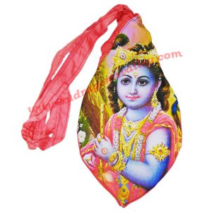 Lord Krishna screen printed japa bag, jaap mali or prayer bag or gomukhi or gaumukhi with zip, similar to the picture, used for chanting mantra.