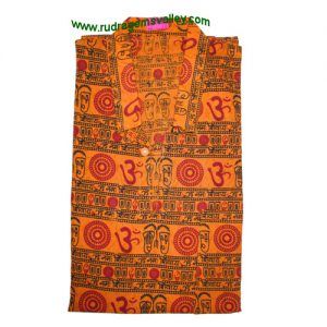 Mantra printed full sleeve short yoga kurta in cotton, size chest 110 x height 69 x sleeve 57 centimeters. Weight approx 126 grams, pack of 1 piece.
