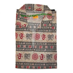 Mantra printed full sleeve short yoga kurta in cotton, size chest 112 x height 69 x sleeve 56 centimeters. Weight approx 124 grams, pack of 1 piece.
