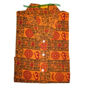 Mantra printed full sleeve long yoga kurta in cotton, size chest 109 x height 103 x sleeve 57 centimeters. Weight approx 174 grams, pack of 1 piece.