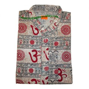 Mantra printed full sleeve long yoga kurta in cotton, size chest 120 x height 104 x sleeve 59.5 centimeters. Weight approx 204 grams, pack of 1 piece.