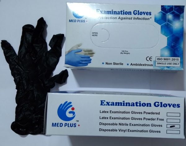 Nitrile examination gloves, disposable hand gloves, Crystal Care examination gloves, ambidextrous single use powdered gloves, pack of 100 pcs. (50 pairs) approx.