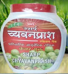 Chyawanprash Special, Improves one's immune system. The combination of over forty herbs makes chyawanprash a powerful immunity boosting tonic. Amla or gooseberry, the main ingredient, contains 30 times more vitamin C than oranges. This is one of the main reasons why chyawanprash is such a powerful immune-booster. Pack of 250 grams.