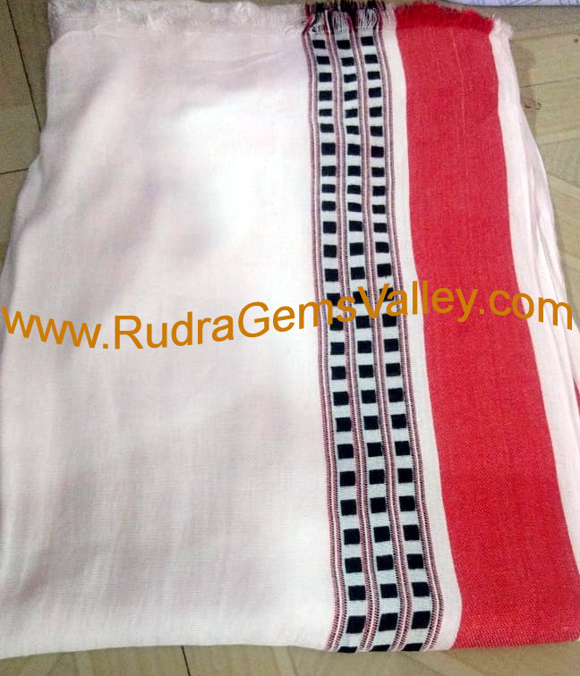 Bulk buy white rayon Modi gamachha wide border MHVR, rayon scarves for protection from dirt and dust, unisex rayon gamacha white, 180 centimeter, Pack of 100 Pcs.