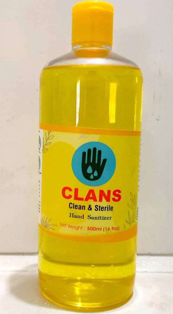 CLANS clean and sterile hand sanitizer, alcohol based sanitizer, isopropyl alcohol 75 percent, propylene glycol 1.45 percent, hydrogen peroxide 0.125 percent. Pack of 500 ml